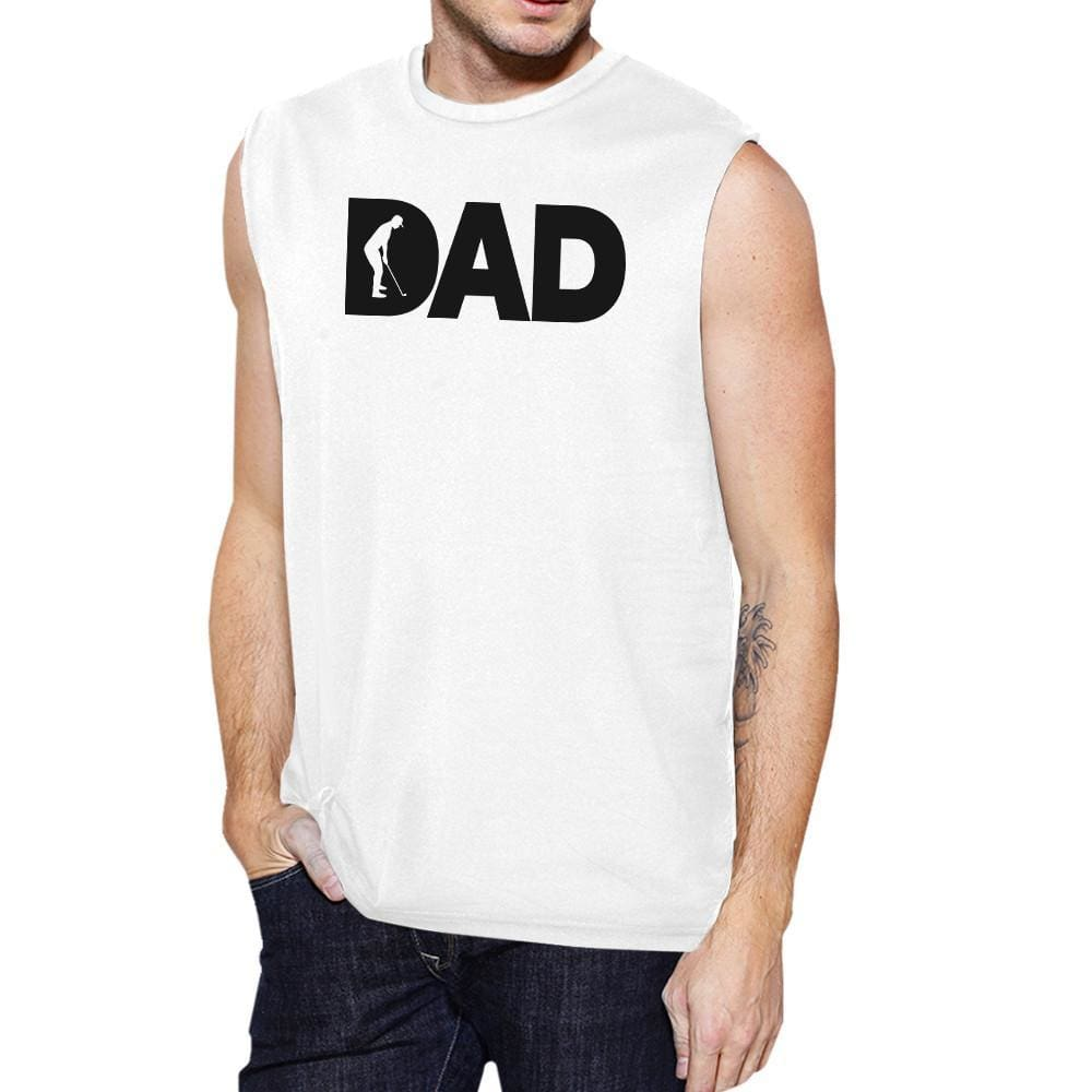 Dad Golf Mens White Funny Design Muscle Top Funny Golf Dad Gifts - MEDIUM - Apparel & Accessories
