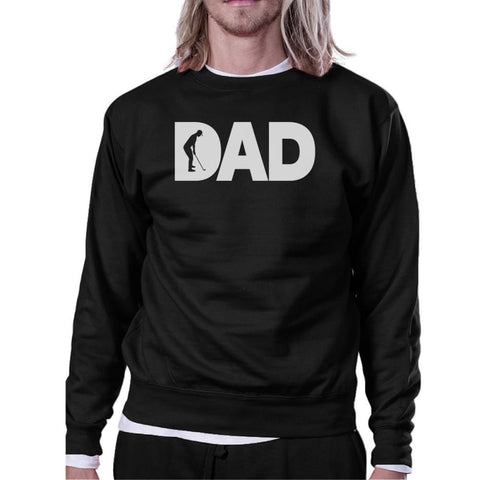 Image of Dad Golf Unisex Black Sweatshirt Funny Graphic Tee For Gold Dads - X-SMALL - Apparel & Accessories