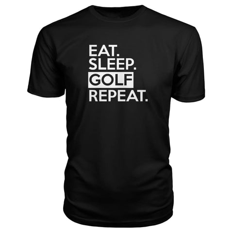 Image of Eat Sleep Golf Repeat Premium Tee - Black / S - Short Sleeves