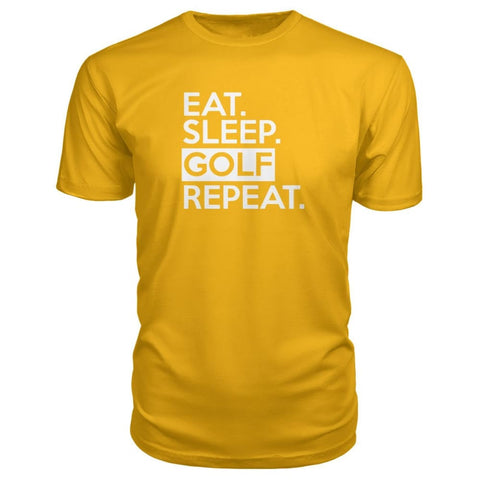Image of Eat Sleep Golf Repeat Premium Tee - Gold / S - Short Sleeves