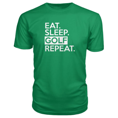 Image of Eat Sleep Golf Repeat Premium Tee - Green Apple / S - Short Sleeves