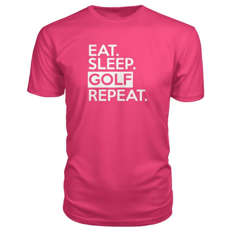 Image of Eat Sleep Golf Repeat Premium Tee - Hot Pink / S - Short Sleeves