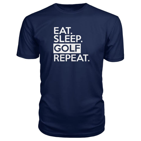 Image of Eat Sleep Golf Repeat Premium Tee - Navy / S - Short Sleeves