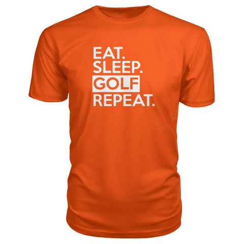 Image of Eat Sleep Golf Repeat Premium Tee - Orange / S - Short Sleeves