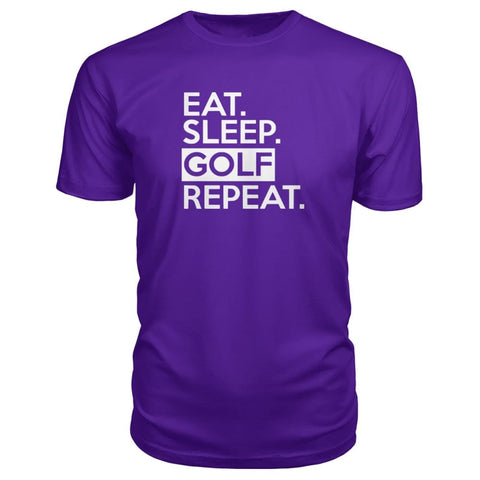 Image of Eat Sleep Golf Repeat Premium Tee - Purple / S - Short Sleeves