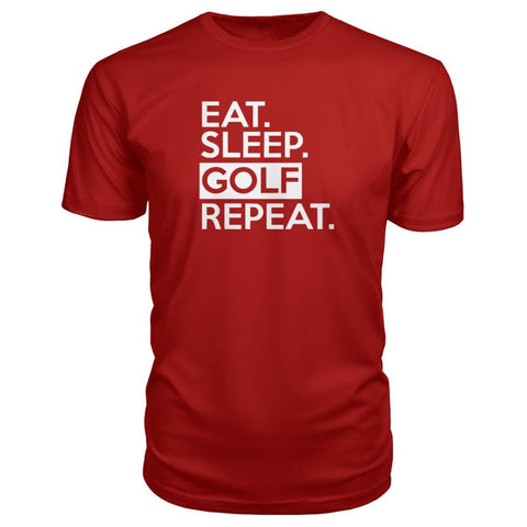 Image of Eat Sleep Golf Repeat Premium Tee - Red / S - Short Sleeves