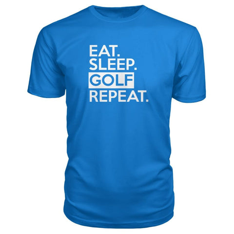 Image of Eat Sleep Golf Repeat Premium Tee - Royal Blue / S - Short Sleeves