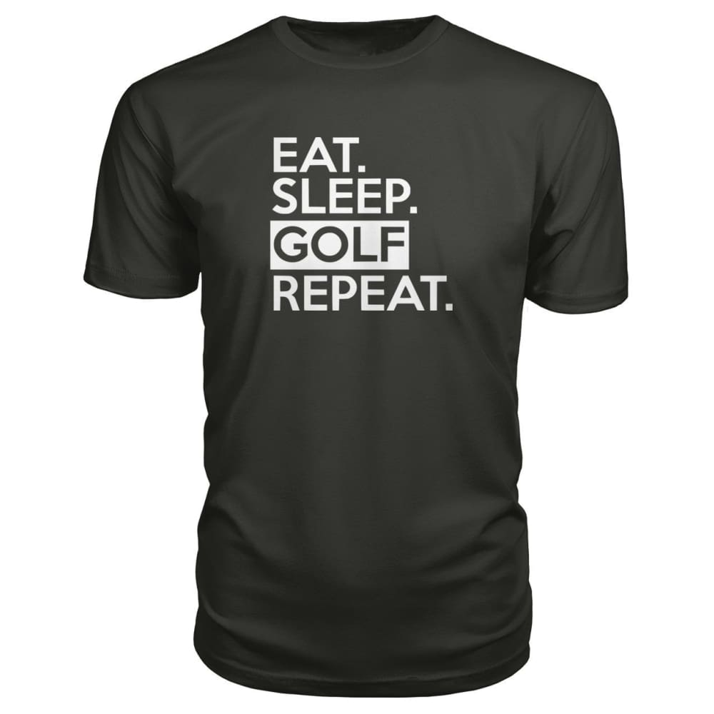 Eat Sleep Golf Repeat Premium Tee - Smoke / S - Short Sleeves