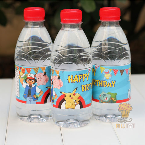 24pc Pokemon Water Bottle Label/Candy Bar Decoration