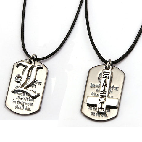 New Fashion Anime Death Note Necklace Double L Cross Logo Dog Tag Sliver Pendant Cosplay Choker Collar Accessory Men Women Gift