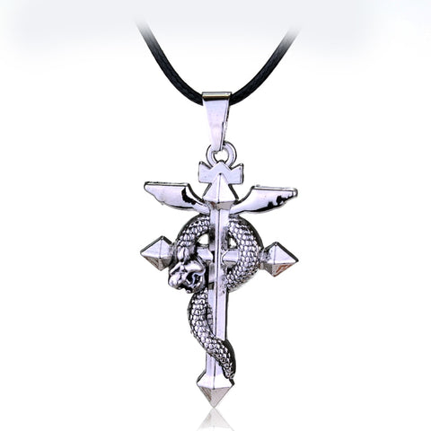 MQCHUN Hot Anime Fullmetal Alchemist Silver Metal Necklace Cross Snake Pendant Cosplay Accessories Jewelry can Drop-shipping