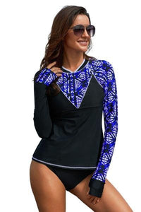Asymmetric Detail Purple Print Rash Guard Long Sleeve Swim Top
