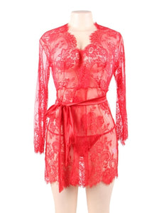 Red Eyelash Lace Sleepwear Gown And G-String
