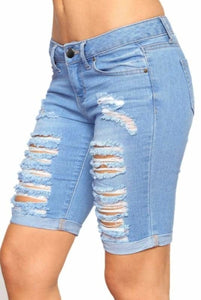 Light Blue Ripped Bermuda Denim Shorts