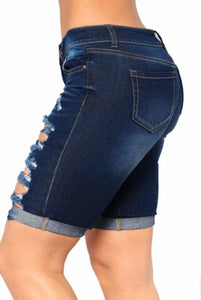 Dark Blue Ripped Bermuda Denim Shorts