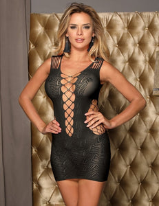 Black Lingerie Crotchet Mesh Mini Chemise Dress