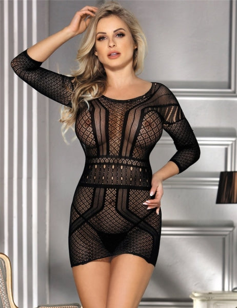 Sexy Black Long Sleeve Mesh Chemise