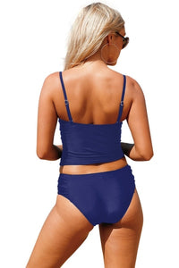 Navy Blue Ruched Two Piece Bathing Suit Swimwear