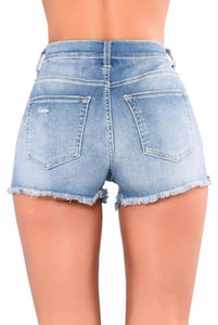 Medium Blue Rose Embroidered Denim Shorts