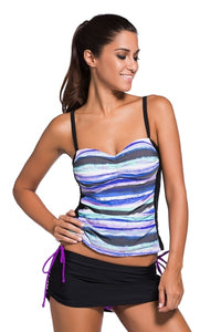 Blue Tie Dye Bandeau Tankini Swimsuit Black Skort Set