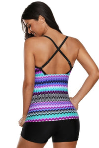 Purple Waves Print Tankini Swimsuit With Criss Cross Back