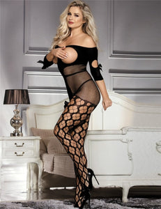 Sexy Fishnet Open Cup Off Shoulder Black Bodystocking