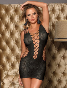 Black Lingerie Crochet Mesh Mini Chemise Dress