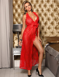 Sexy Red Lace Halter Lingerie Dress