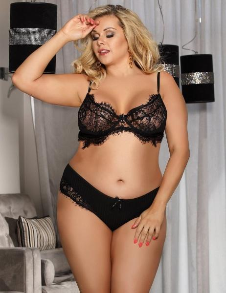 Sexy Black Lace Plus Size Bralette Set