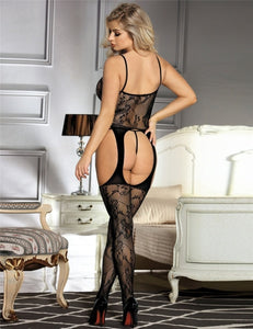 Black Spaghetti Strap Garter Bodystockings