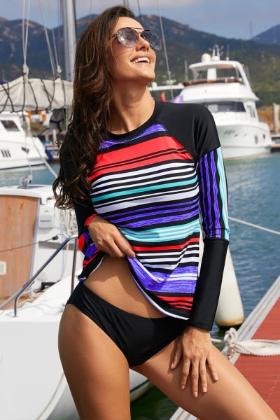 Multi Stripe Print Patchwork Long Sleeve Swim Top