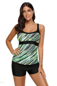 Army Green Striped Swimsuit Tankini Tops