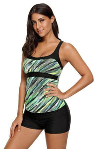 Army Green Striped Swimsuit Tankini Tops - Divas Fashions