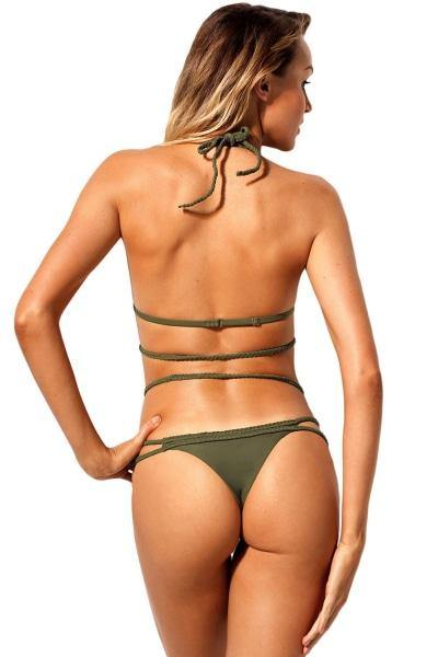 Army Green Braided Halter Bikini Swimwear