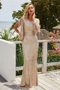 Beige Tassel Sleeve Detail Sequin Evening Dress
