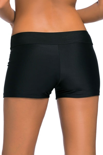 Black Banded Swimwear Bottom Shorts