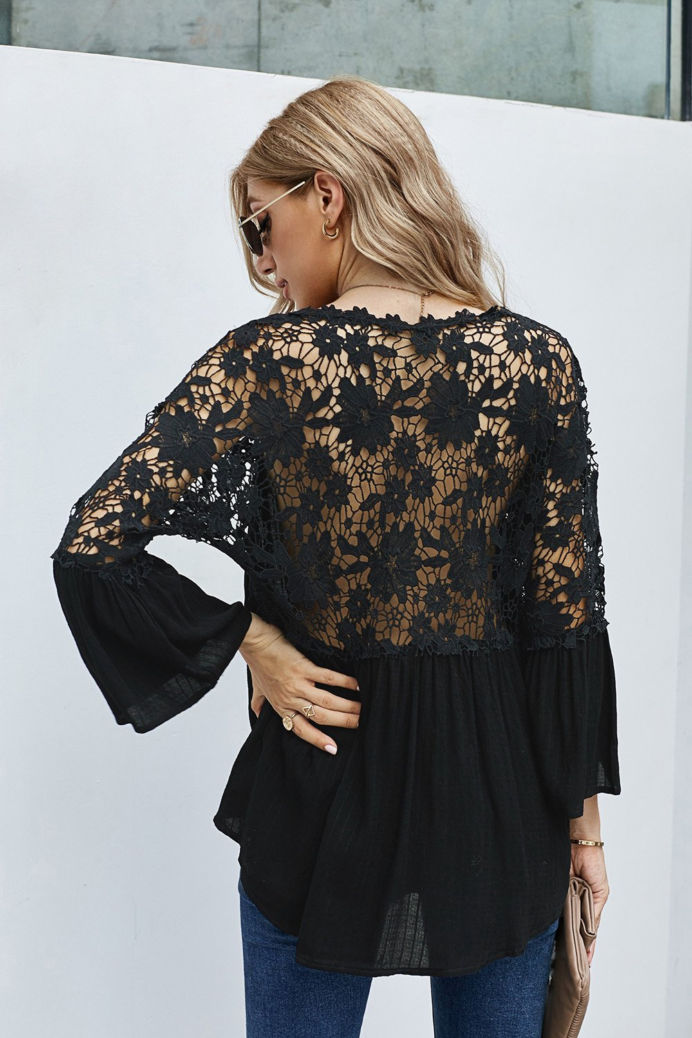 Black Crochet Lace Bell Sleeve Blouse