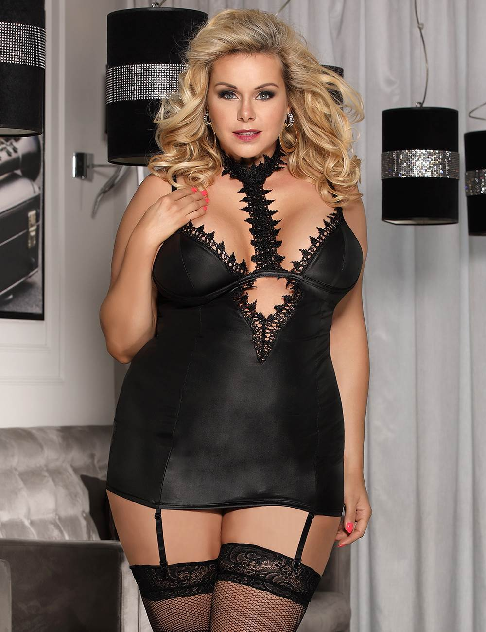 Black Faux Leather And Lace Choker Plus Size Chemise