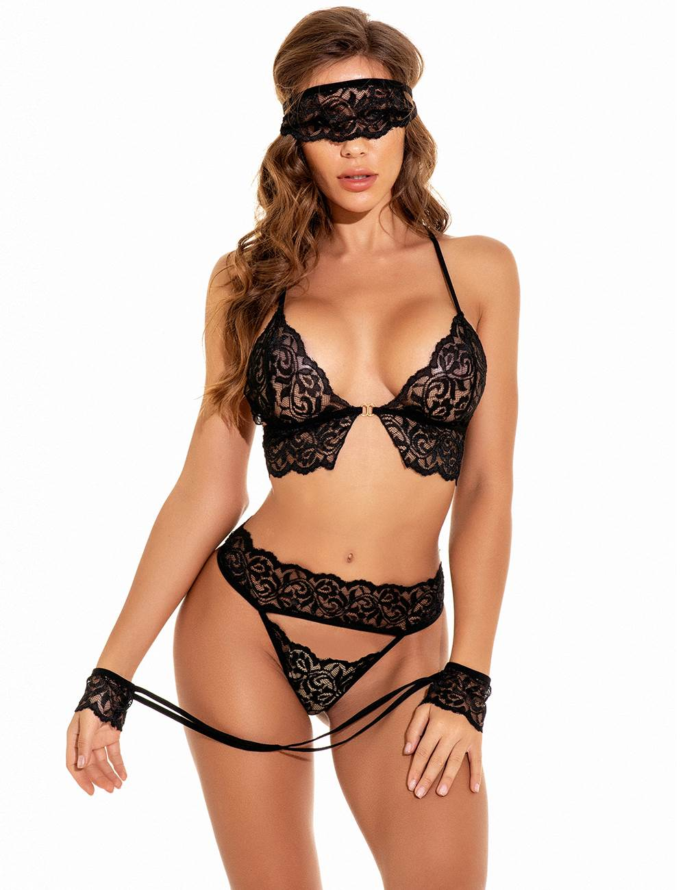 Black Lace Surrender Control Lingerie Bra Set