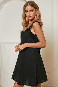 Black Lace Trim Summer Mini Dress
