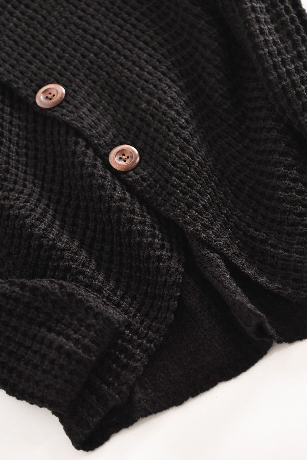 Black Turtleneck Buttoned Sweater