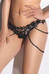 Black Beaded Chain Detail Lace G-String