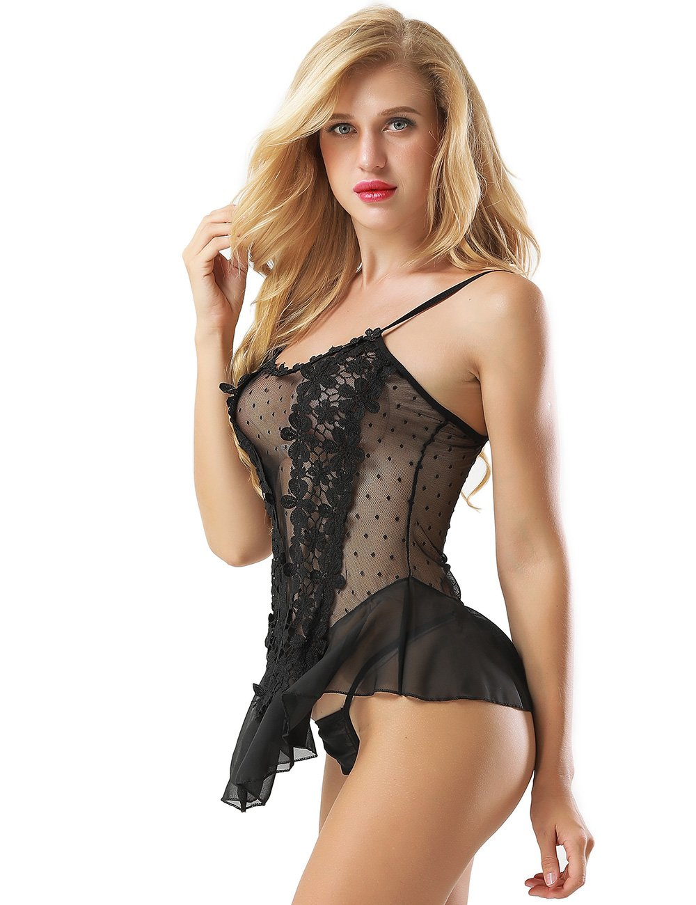Black Dotted Mesh Floral Applique Babydoll Lingerie Set