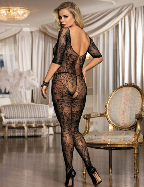 Black Fishnet And Floral Lace Sleeved  Lingerie Bodystockings