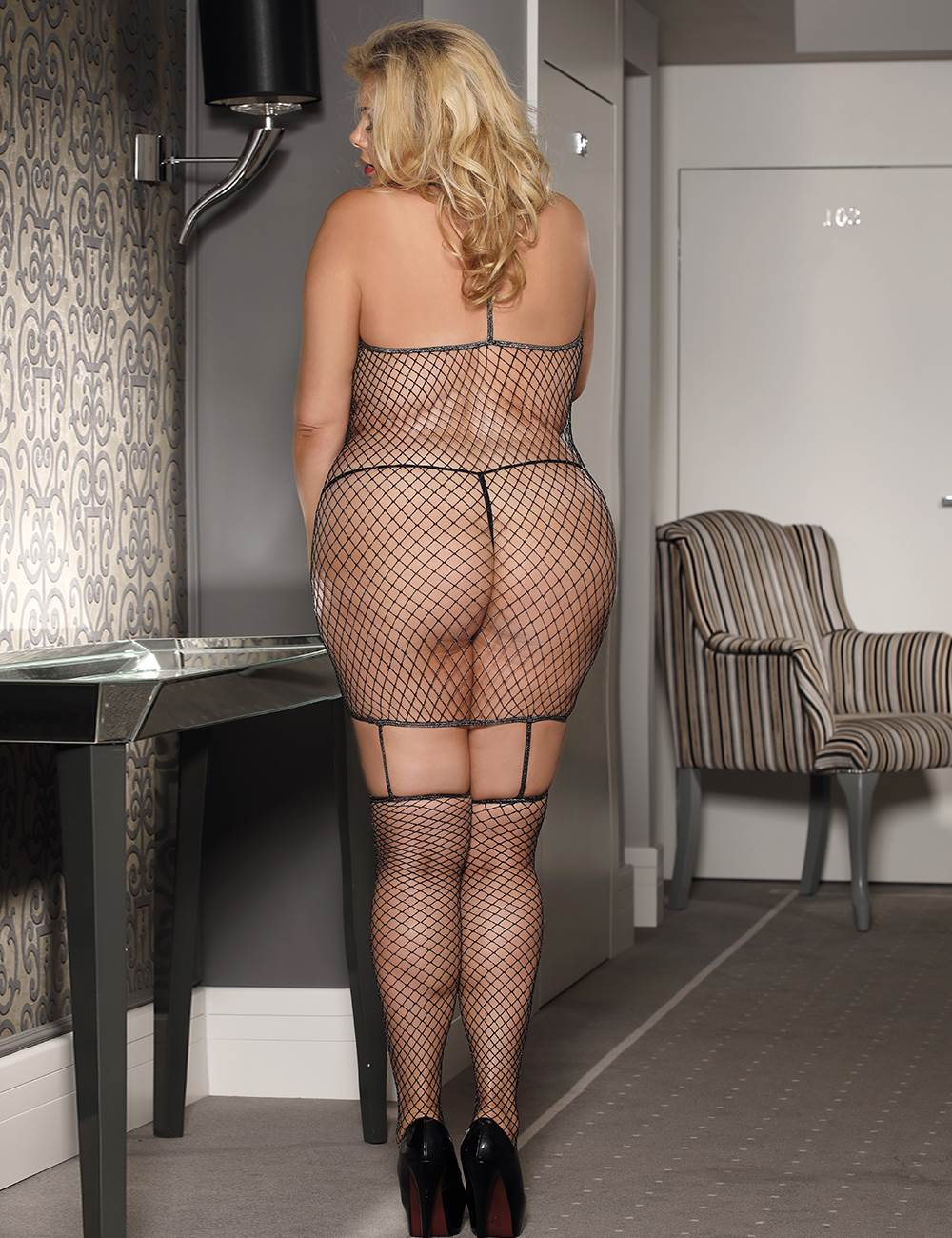 Black Fishnet Cami Suspender Bodystocking