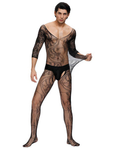 Black Half Sleeve Lace Bodystocking For Men