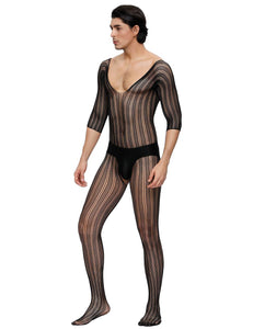 Black Half Sleeve Striped Bodystocking For Men