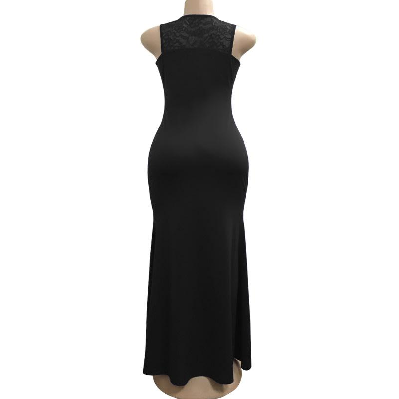 Black Keyhole Front Maxi Evening Party Dress