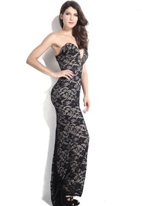 Black Lace Nude Illusion Strapless Evening Party Dress