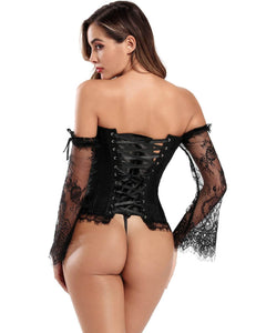 Black Lace Overlay Long Sleeve Overbust Corset